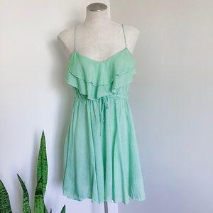 Free people green stripe summer dress small EUC
